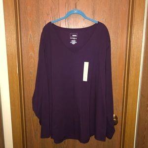 BNWT Sonoma sz 4x Plum V neck  Long Sleeve Shirt!